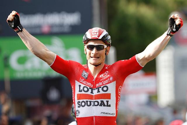 Germany's Andre Greipel, pictured during the Giro d'Italia on May 19, 2016, will lead an experienced Lotto team at the Tour de France (AFP Photo/Luk Benies)