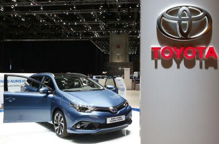 A Toyota Auris Hybrid Touring Sports car is pictured ahead of the 85th International Motor Show in Geneva