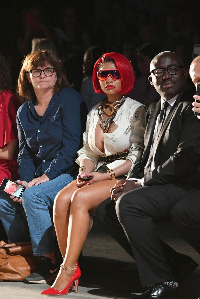 <p>Cathy Horyn, Nicki Minaj and Edward Enninful attend the Monse Spring 2019 show during New York Fashion Week at SIR Stage 37 on September 7, 2018 in New York City. (Photo: Dia Dipasupil/Getty Images) </p>