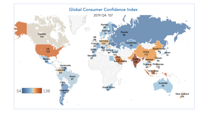 Ahead of a phase one trade deal signing, consumer confidence in the fourth quarter fell in China but rose in the United States, according to data from The Conference Board in partnership with Nielsen.