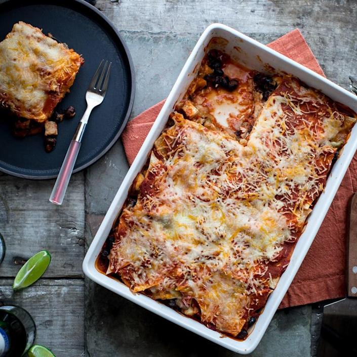 <p>Casseroles make perfect meal-prep dinners--this enchilada version is so easy to prep ahead. The whole casserole can be built and left to hang out in the refrigerator for up to three days. Then all you have to do is bake it off on a busy night and you have a healthy dinner on the table in a jiff. The quick homemade enchilada sauce in this recipe is great when you don't have any of the canned sauce on hand--just season crushed tomatoes with spices and salt for an instant enchilada sauce.</p>