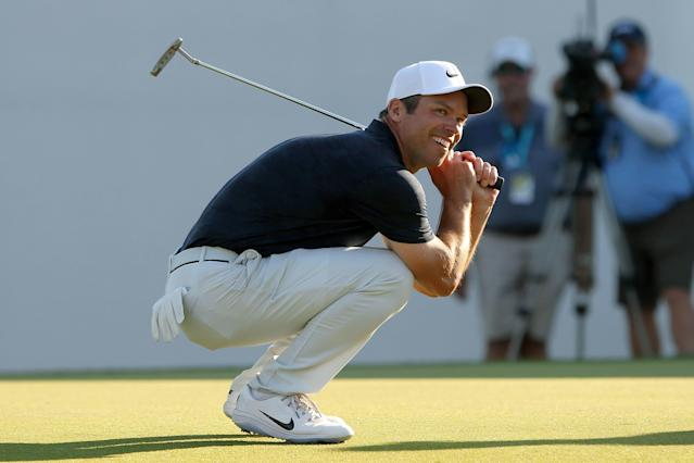 """<div class=""""caption""""> Paul Casey is all smiles as he misses the birdie putt on the final hole during the final round of the 2019 Valspar Championship. A tap-in par still secured his second straight title at Innisbrook Resort </div> <cite class=""""credit"""">Icon Sportswire</cite>"""
