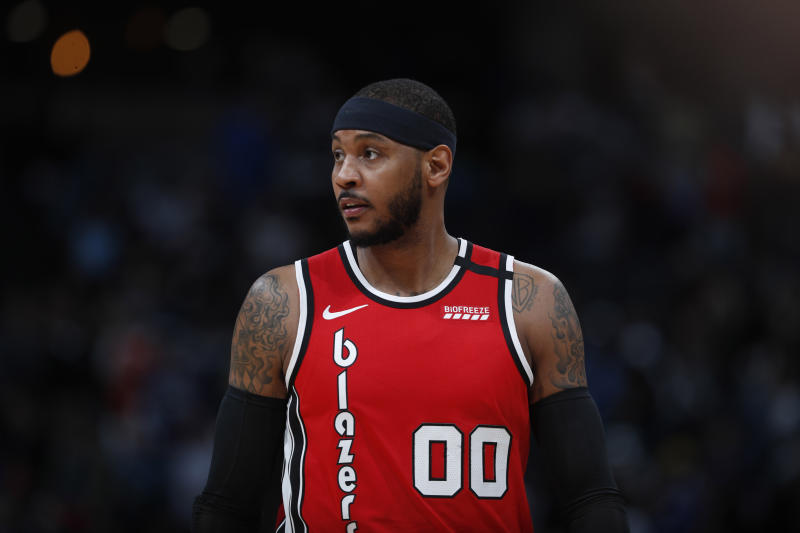 Portland Trail Blazers forward Carmelo Anthony (00) in the first half of an NBA basketball game Tuesday, Feb. 4, 2020, in Denver. (AP Photo/David Zalubowski)