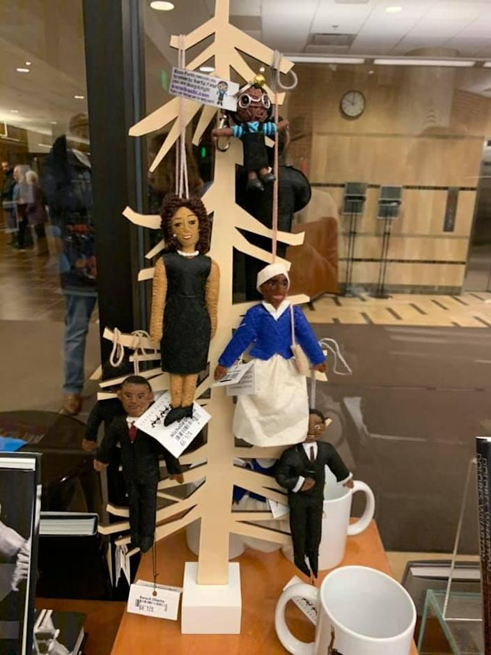 Michigan State University removed an ornament display of African-American leaders hanging from a tree at the Wharton Center gift shop, shown on Jan. 30.