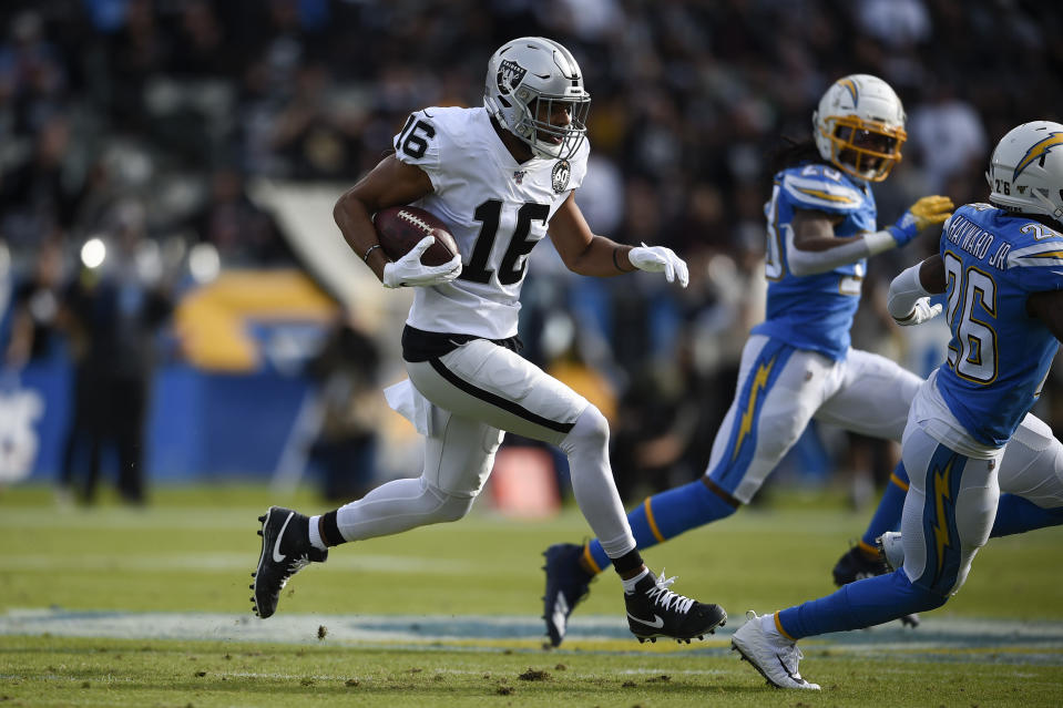 FILE - In this Dec. 22, 2019, file photo, Oakland Raiders wide receiver Tyrell Williams runs against the Los Angeles Chargers during the first half of an NFL football game in Carson, Calif. Whether it was Kansas City getting rid of banged-up and expensive starting offensive tackles Mitchell Schwartz and Eric Fisher, or the Raiders cutting ties with Lamarcus Joyner and Tyrell Williams, veterans around the league have been sent to the chopping block. (AP Photo/Kelvin Kuo, File)