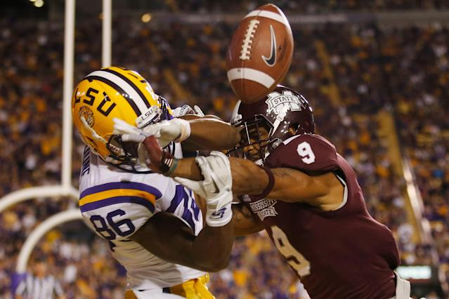 BATON ROUGE, LA - NOVEMBER 10: Darius Slay #9 of the Mississippi State Bulldogs breaks up a pass intended for Kadron Boone #86 of the LSU Tigers at Tiger Stadium on November 10, 2012 in Baton Rouge, Louisiana. The Tigers defeated the Bulldogs 37-17. (Photo by Chris Graythen/Getty Images)