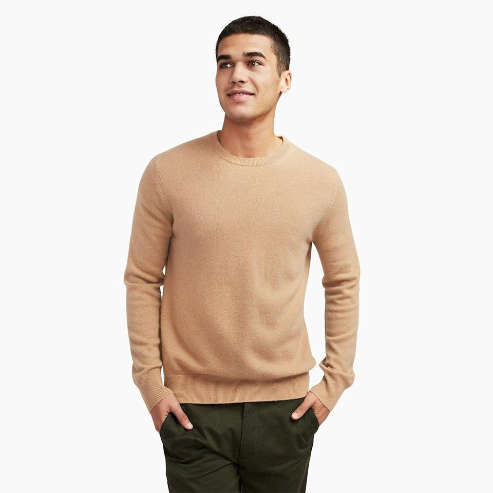 """<p><strong>Naadam</strong></p><p>naadam.co</p><p><strong>$75.00</strong></p><p><a href=""""https://go.redirectingat.com?id=74968X1596630&url=https%3A%2F%2Fnaadam.co%2Fcollections%2Fthe-75-cashmere-sweater%2Fproducts%2Fthe-essential-75-cashmere-sweater-mens%3Fvariant%3D32636354986080&sref=https%3A%2F%2Fwww.womansday.com%2Flife%2Fg964%2Fgifts-for-men%2F"""" rel=""""nofollow noopener"""" target=""""_blank"""" data-ylk=""""slk:Shop Now"""" class=""""link rapid-noclick-resp"""">Shop Now</a></p><p>You don't have to pay an arm and a leg to get great cashmere, and this gorgeous $75 sweater (which comes in just about every color imaginable) proves it. </p>"""