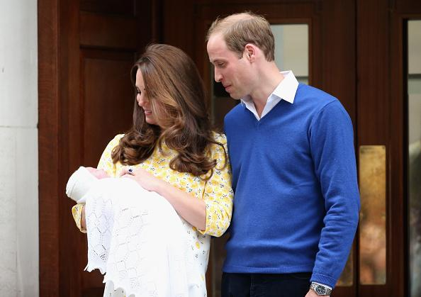 Prince William and Kate Middleton with newborn baby Charlotte