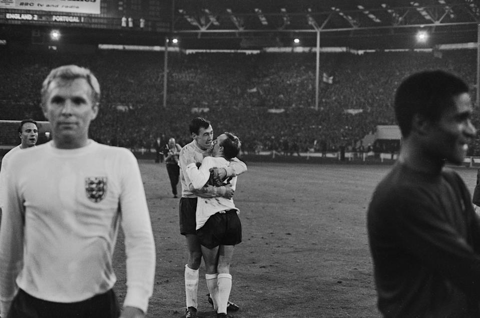 Nobby Stiles and Gordon Banks celebrating Englands 2-1 victory over Portugal in the 1966 World Cup semi final at Wembley 27th July 1966. Captain Bobby Moore is in the foreground. (Photo by Central Press/Hulton Archive/Getty Images)