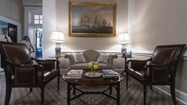 PHOTO: The newly renovated West Wing Lobby of the White House is seen in Washington, Tuesday, Aug. 22, 2017, during a media tour. The West Wing was updated with a new heating and cooling system, new carpeting and paint, and some new decorative items. (AP Photo/Carolyn Kaster)