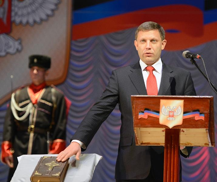 Alexander Zakharchenko -- the leader of the self-proclaimed Donetsk People's Republic -- took his oath of office in 2014 (AFP Photo/Alexander Khudoteply)