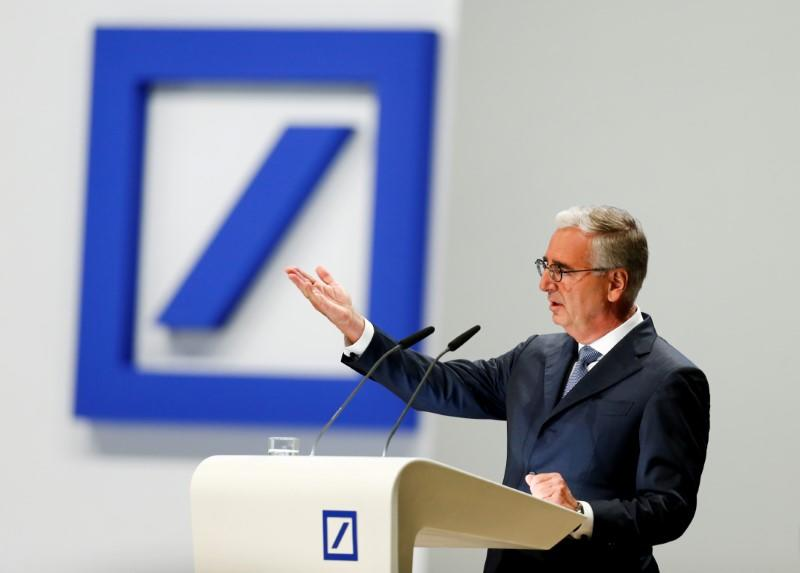 Deutsche Bank supervisory board chairman Paul Achleitner speaks during the bank's annual general meeting in Frankfurt