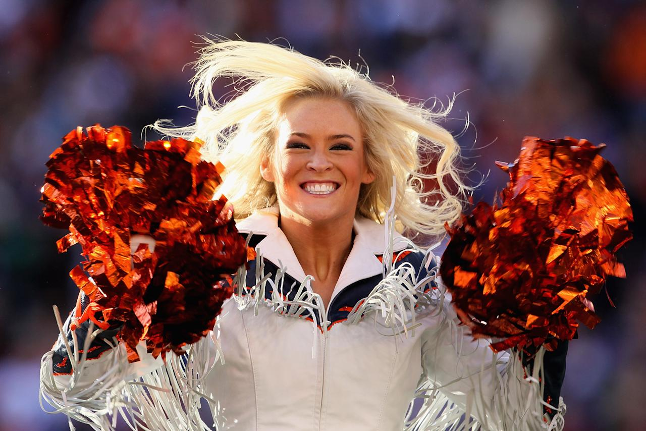 Denver Broncos cheerleaders perform during the Wild Card Playoff game against the Pittsburgh Steelers at Sports Authority Field at Mile High on January 8, 2012 in Denver, Colorado. (Photo by Jeff Gross/Getty Images)