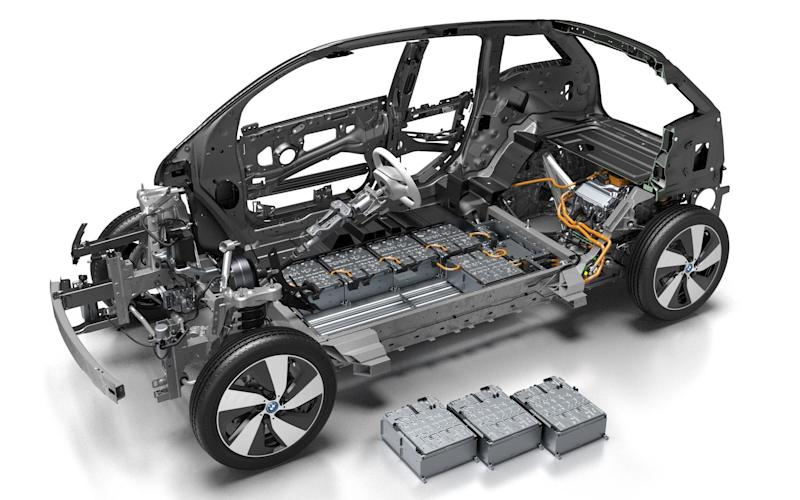 BMW i3 cutaway showing batteries