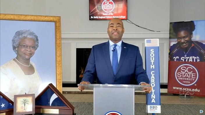 In this screenshot from the DNCC's livestream of the 2020 Democratic National Convention, South Carolina Senate Candidate Jamie Harrison announces the delegates during the virtual convention on August 18, 2020. (Photo by DNCC via Getty Images) (Photo by Handout/DNCC via Getty Images)