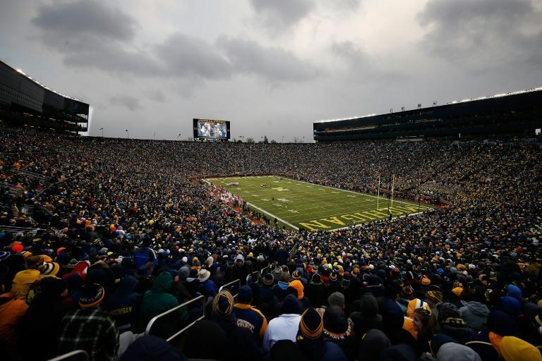 A view of Michigan Stadium during a gridiron game between Big Ten colleges Michigan and Indiana