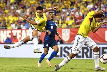 Oct 11, 2018; Tampa, FL, USA; Columbia forward Radamel Falcao (9)  takes a shot on goal against the  United States   in the first half  during an international friendly soccer match at Raymond James Stadium. Mandatory Credit: Jonathan Dyer-USA TODAY Sports