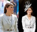 <p>This dove grey Katherine Hooker outfit has been seen twice: first in June 2011 and then in June 2012. </p>