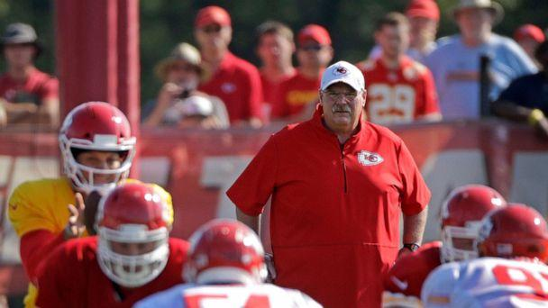PHOTO: FILE - In this Monday, July 29, 2019, file photo, Kansas City Chiefs head coach Andy Reid watches a drill during NFL football training camp in St. Joseph, Mo.  (Charlie Riedel/AP)