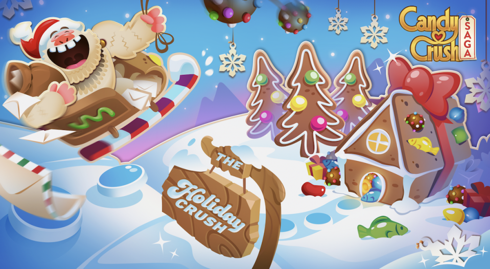 Get your fix of Candy Crush with three new holiday mini-games that are Yeti-approved! (Photo: Candy Crush)