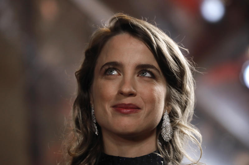 Actress Adele Haenel arrives to attend the Cesar award ceremony, Friday, Feb. 28, 2020 in Paris. The Cesar awards ceremony for France is the equivalent of the Oscars. (AP Photo/Christophe Ena)