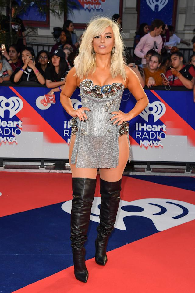 "<p>Bebe Rexha was turning heads at the MMVAs in a silver corseted chainmail ensemble. The singer and producer took home the award for Best Collaboration for her hit ""Meant To Be"" featuring country artists Florida Georgia Line. </p>"