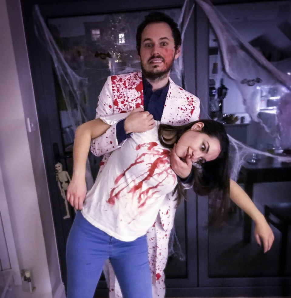 """<p>Does your S.O. make you a victim of his bad jokes? LOL (or shriek!) with your friends in these fake blood-splattered outfits. </p><p><a class=""""link rapid-noclick-resp"""" href=""""https://www.amazon.com/Halloween-Bloody-Butcher-Costumes-Scary/dp/B07G3615W4?tag=syn-yahoo-20&ascsubtag=%5Bartid%7C10072.g.27868801%5Bsrc%7Cyahoo-us"""" rel=""""nofollow noopener"""" target=""""_blank"""" data-ylk=""""slk:SHOP SIMILAR"""">SHOP SIMILAR</a></p>"""