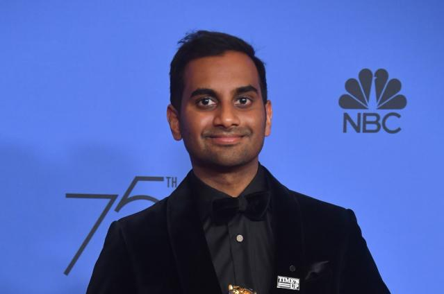 "Actor Aziz Ansari, wearing a #TimesUp pin in solidarity with women in Hollywood, acknowledged an encounter with an anonymous accuser but insisted it was ""completely consensual."" (Photo: Frederic J. Brown/AFP/Getty Images)"