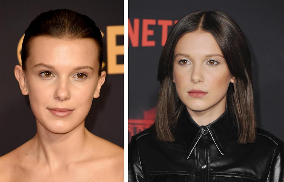 <p><strong>When:</strong> October 26<br>The 13-year-old 'Stranger Things' star was barely recognisable with her long straight hair while celebrating the premiere of the second season. It's definitely a world away from Eleven's shaved look.<br><i>[Photo: Getty]</i> </p>