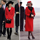 <p>Kate Middleton looked like the spitting image of her mother-in-law in 2006. To attend the Sovereign's Parade at Sandhurst Military Academy to watch Prince William passing out as a commissioned officer the then 24-year-old wore a red coat and black accessories.The ensemble mirrored the red coat and black shoes Princess Diana of Wales wore during a visit to Leicester in March 1984.</p>