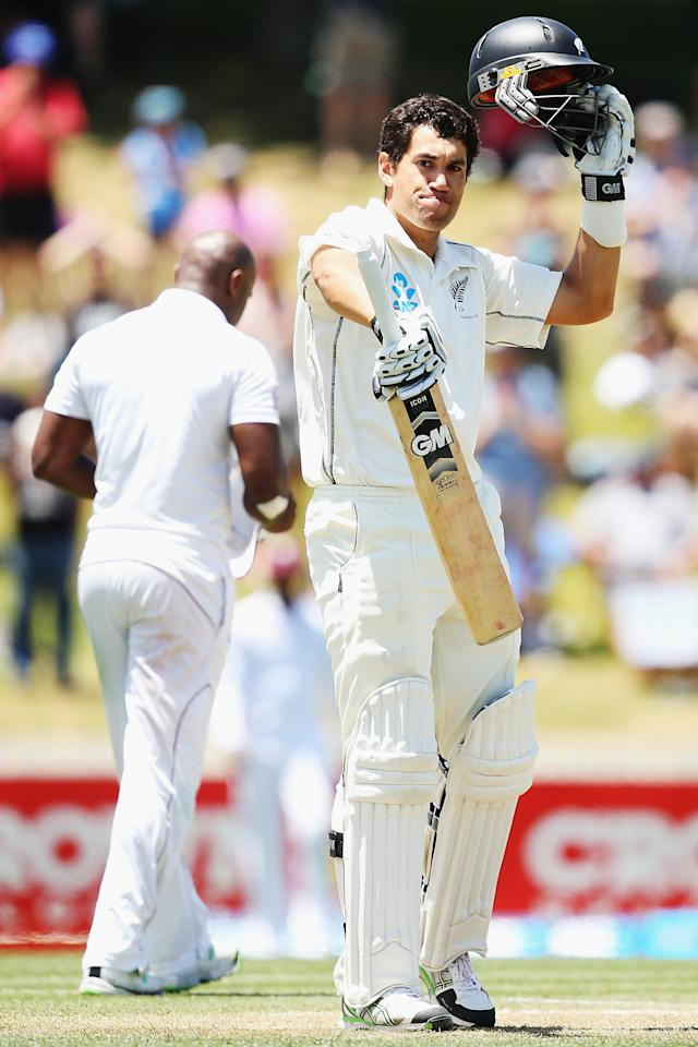 HAMILTON, NEW ZEALAND - DECEMBER 21:  Ross Taylor of New Zealand celebrates after scoring a century during day three of the Third Test match between New Zealand and the West Indies at Seddon Park on December 21, 2013 in Hamilton, New Zealand.  (Photo by Hannah Johnston/Getty Images)