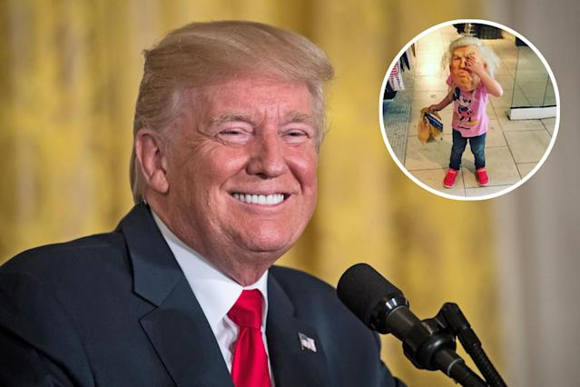 President Trump's granddaughter wore a Halloween mask of his face. (Photos: Getty Images, Donald Trump Jr. via Instagram)