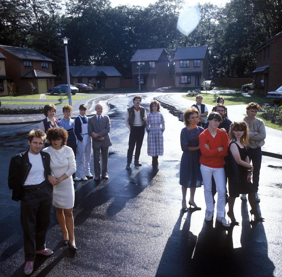 Cast Of The Channel Four Soap 'brookside' Pictured On The Show's Set 'brookside Close',    04.10.1982. . (Photo by Photoshot/Getty Images)