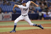 Tampa Bay Rays relief pitcher Hoby Milner throws during the seventh inning of the team's baseball game against the Miami Marlins on Friday, July 20, 2018, in St. Petersburg, Fla. (AP Photo/Mike Carlson)