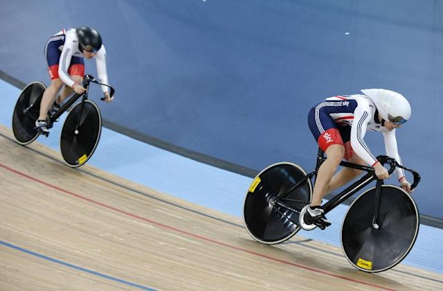Britain's Jessica Varnish and Britain's Katy Marchant compete in the Women's team sprint qualification during the 2016 Track Cycling World Championships at the Lee Valley VeloPark in London on March 2, 2016 (AFP Photo/Adrian Dennis)