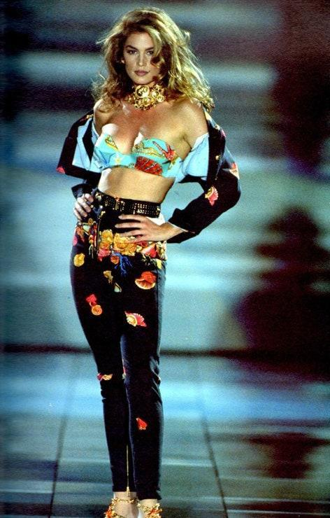 Cindy Crawford during the Versace Spring/Summer 1992 show