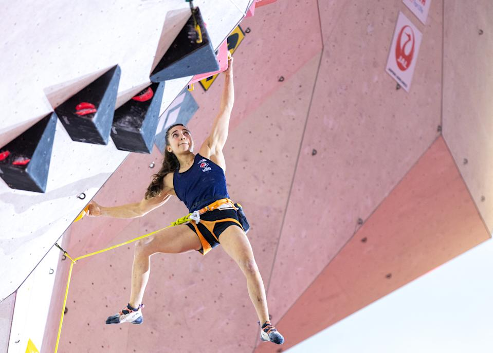 USA's Brooke Raboutou competes in the women's Lead final of the IFSC Climbing World Cup in Innsbruck, Austria, on June 25, 2021. - - Austria OUT (Photo by Johann GRODER / various sources / AFP) / Austria OUT (Photo by JOHANN GRODER/EXPA/AFP via Getty Images)