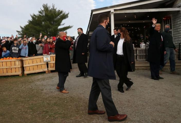 U.S. President Donald Trump visits Treworgy Family Orchards in Levant