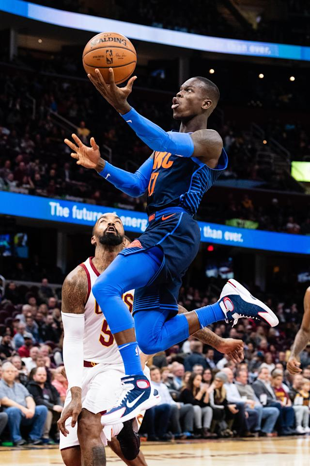 CLEVELAND, OH - NOVEMBER 7: Dennis Schroder #17 of the Oklahoma City Thunder shoots over JR Smith #5 of the Cleveland Cavaliers during the first half at Quicken Loans Arena on November 7, 2018 in Cleveland, Ohio. (Photo by Jason Miller/Getty Images)