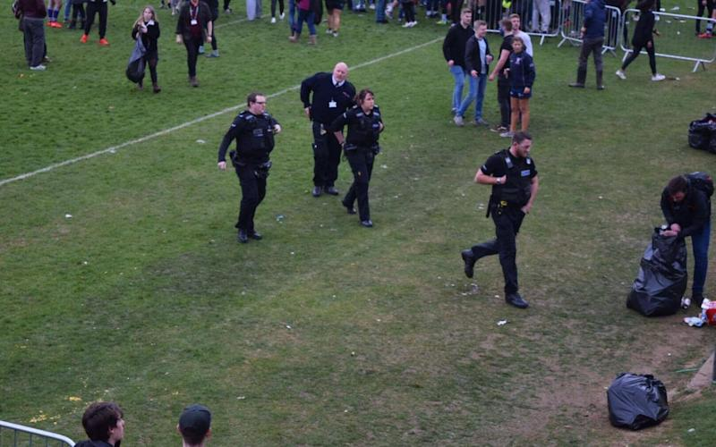 Police were forced to intervene as fights flared between rival student supporters - Credit: The Tab