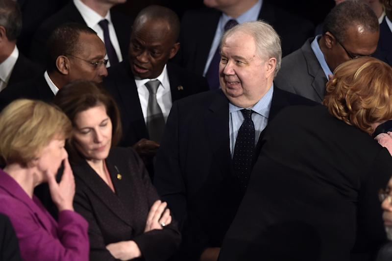 Russian ambassador Sergey Kislyak, pictured at President Donald Trump's address to Congress, is at the center of a political storm over the US administration's contacts with Moscow