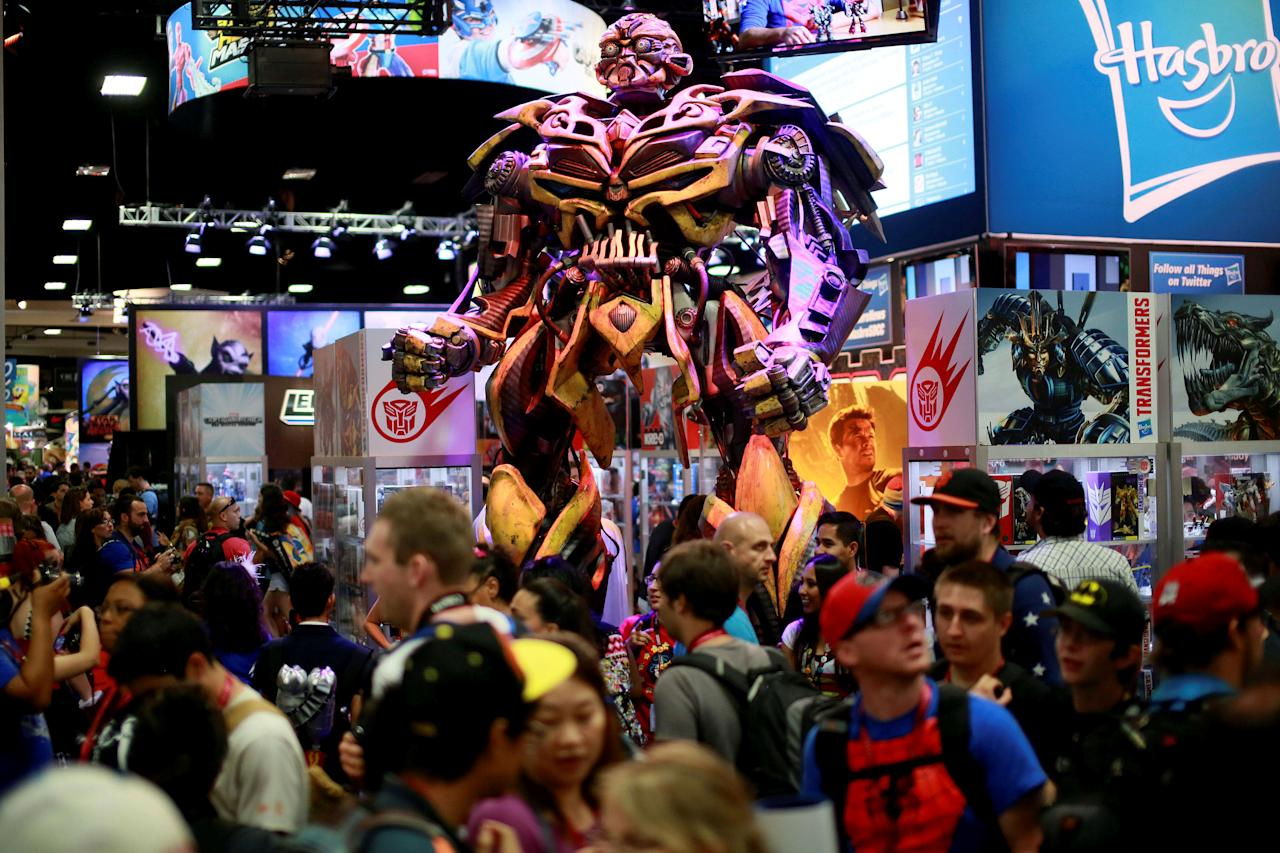 FILE PHOTO -  A Transformers statue stands on display at the Hasbro booth during the 2014 Comic-Con International Convention in San Diego, California July 25, 2014.  REUTERS/Sandy Huffaker/File Photo                               GLOBAL BUSINESS WEEK AHEAD PACKAGE - SEARCH 'BUSINESS WEEK AHEAD 6 FEB'  FOR ALL IMAGES