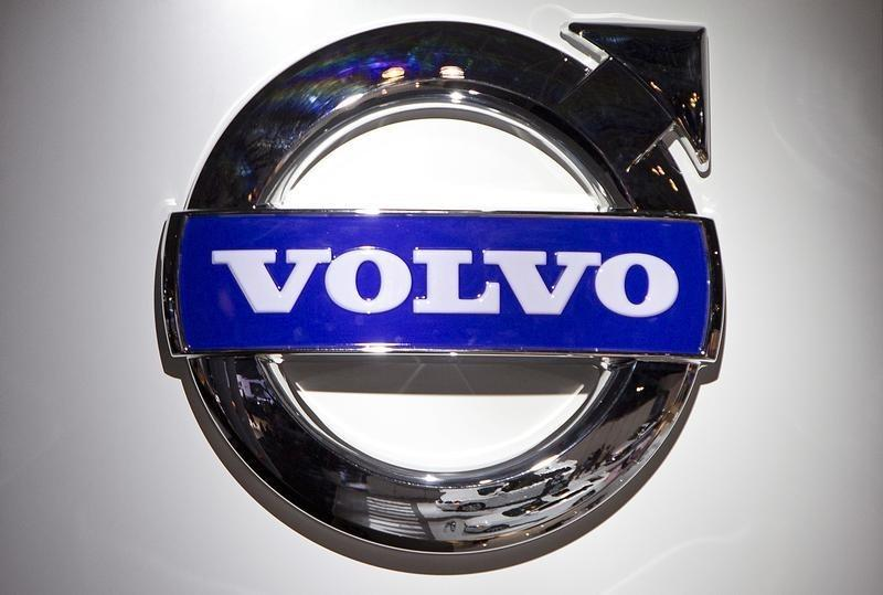 A Volvo logo is pictured at the Jacob Javits Convention Center during the New York International Auto Show in New York