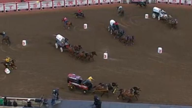 Injured Stampede chuckwagon driver says 'it's part of the job', vowing to saddle up in 3 to 6 weeks