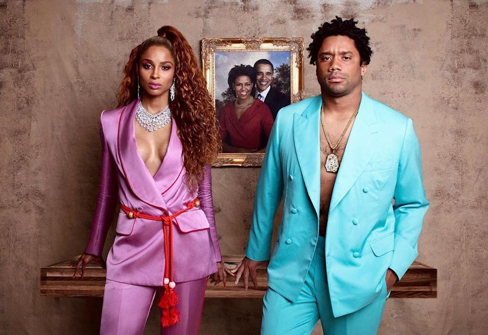 Ciara and her NFL QB hubby, Russell Wilson, totally nailed Bey and Jay's look from their Brit Awards acceptance speech. The Wilsons opted for a photo of the Obamas behind them, whereas the Knowles-Carters chose Meghan Markle.