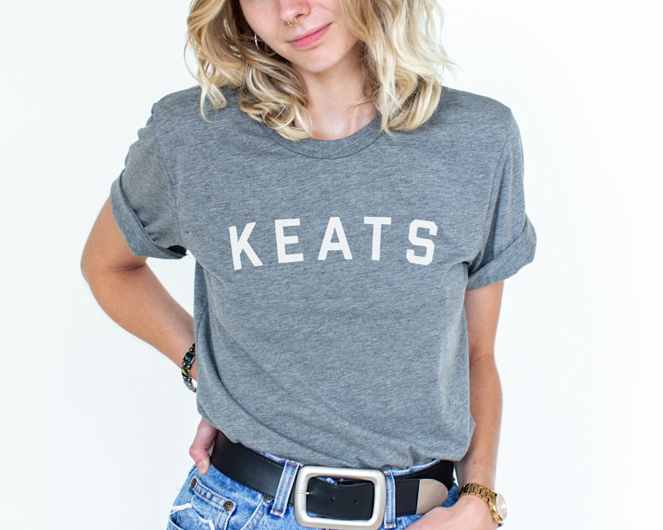 """<strong><h2>John Keats Shirt</h2></strong><br>A simple yet bold declaration of love for John Keats on a shirt. Not all poets/readers love the romantic era legend, but those who do would love this shirt. <br><br><em>Shop <strong><a href=""""https://www.etsy.com/shop/exploringwithwords"""" rel=""""nofollow noopener"""" target=""""_blank"""" data-ylk=""""slk:Exploring With Words"""" class=""""link rapid-noclick-resp"""">Exploring With Words</a></strong></em><br><br><strong>Exploring With Words</strong> Keats T-Shirt, $, available at <a href=""""https://go.skimresources.com/?id=30283X879131&url=https%3A%2F%2Fwww.etsy.com%2Flisting%2F637178910%2Fkeats-quality-shirt-keats-shirt-john"""" rel=""""nofollow noopener"""" target=""""_blank"""" data-ylk=""""slk:Etsy"""" class=""""link rapid-noclick-resp"""">Etsy</a>"""