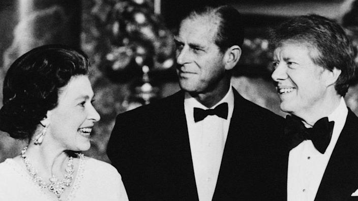 Queen Elizabeth II, Prince Phillip (center) and US President Jimmy Carter