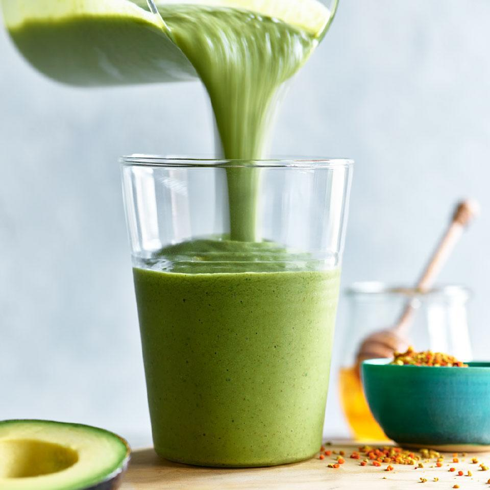 "<p>The combination of kale and avocado makes this healthy smoothie recipe extra green. Chia seeds lend this creamy smoothie a heart-healthy punch of fiber and omega-3 fatty acids. <a href=""http://www.eatingwell.com/recipe/270514/really-green-smoothie/"" rel=""nofollow noopener"" target=""_blank"" data-ylk=""slk:View recipe"" class=""link rapid-noclick-resp""> View recipe </a></p>"