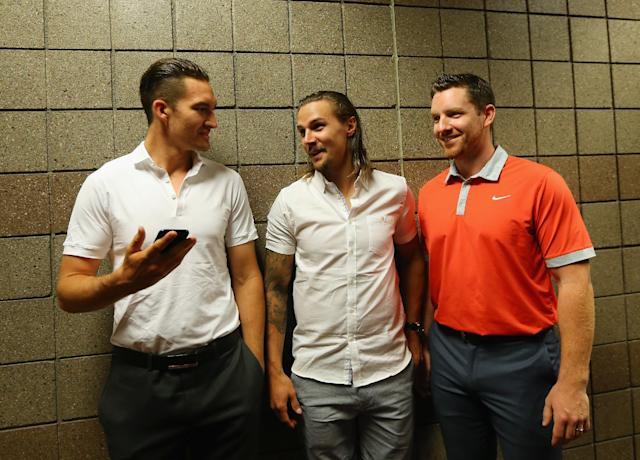 LAS VEGAS, NV - JUNE 23: (l-r) Mark Stone, Erik Karlsson and Andrew Hammond of the Ottawa Senators attend the 2015 NHL Awards nominee media availability at MGM Grand Arena on June 23, 2015 in Las Vegas, Nevada. (Photo by Bruce Bennett/Getty Images)