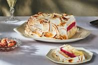 "Underneath the toasted meringue, you'll find a surprising lightness that comes from cheery red cranberry sorbet layered with pale green pistachio ice cream and buttery pound cake. <a href=""https://www.epicurious.com/recipes/food/views/cranberry-pistachio-baked-alaska?mbid=synd_yahoo_rss"" rel=""nofollow noopener"" target=""_blank"" data-ylk=""slk:See recipe."" class=""link rapid-noclick-resp"">See recipe.</a>"